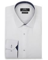 XOOS Men's white fitted dress shirt and navy woven patterned lining (Double Twisted)