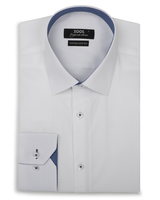 XOOS Men's white fitted dress shirt and blue patterned lining (Double Twisted)
