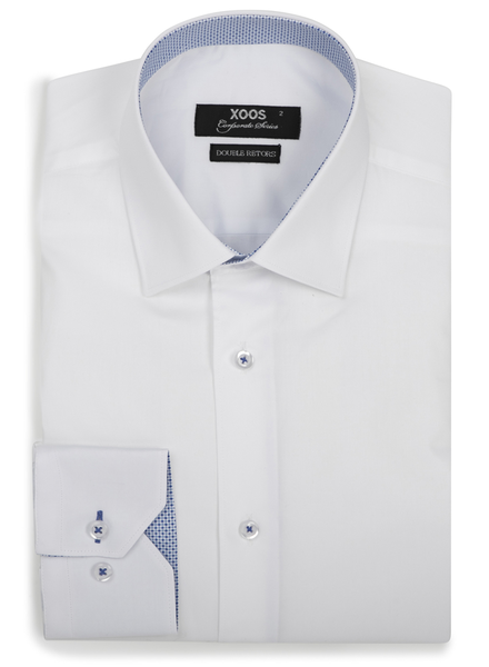 XOOS Men's white fitted dress shirt and light blue patterned lining (Double Twisted)