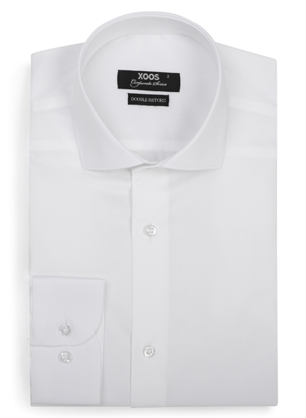 XOOS Men's white fitted dres shirt (Full spread collar)