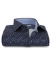 XOOS Men's navy fitted dress shirt and patterned square prints