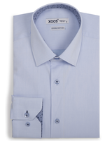 XOOS Men's blue fitted dress shirt with blue peinted patterns lining (Double Twisted)