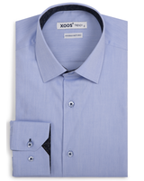XOOS Men's light blue fitted dress shirt with navy floral lining (Double Twisted)