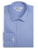 XOOS Men's light blue polka dots fitted dress shirt
