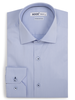 XOOS Men's light blue striped and fitted dress shirt with navy braid