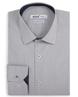 XOOS Men's gray fitted dress shirt with navy polka dots lining