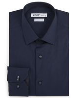 XOOS Men's navy fitted dress shirt with navy micro polka dots lining