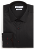XOOS Men's black fitted dress shirt with red micro polka dots lining