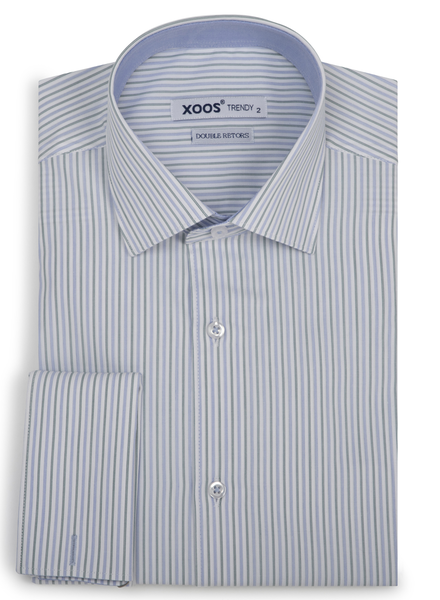 XOOS Men's blue and green striped fitted dress shirt with French cuffs (Double Twisted)