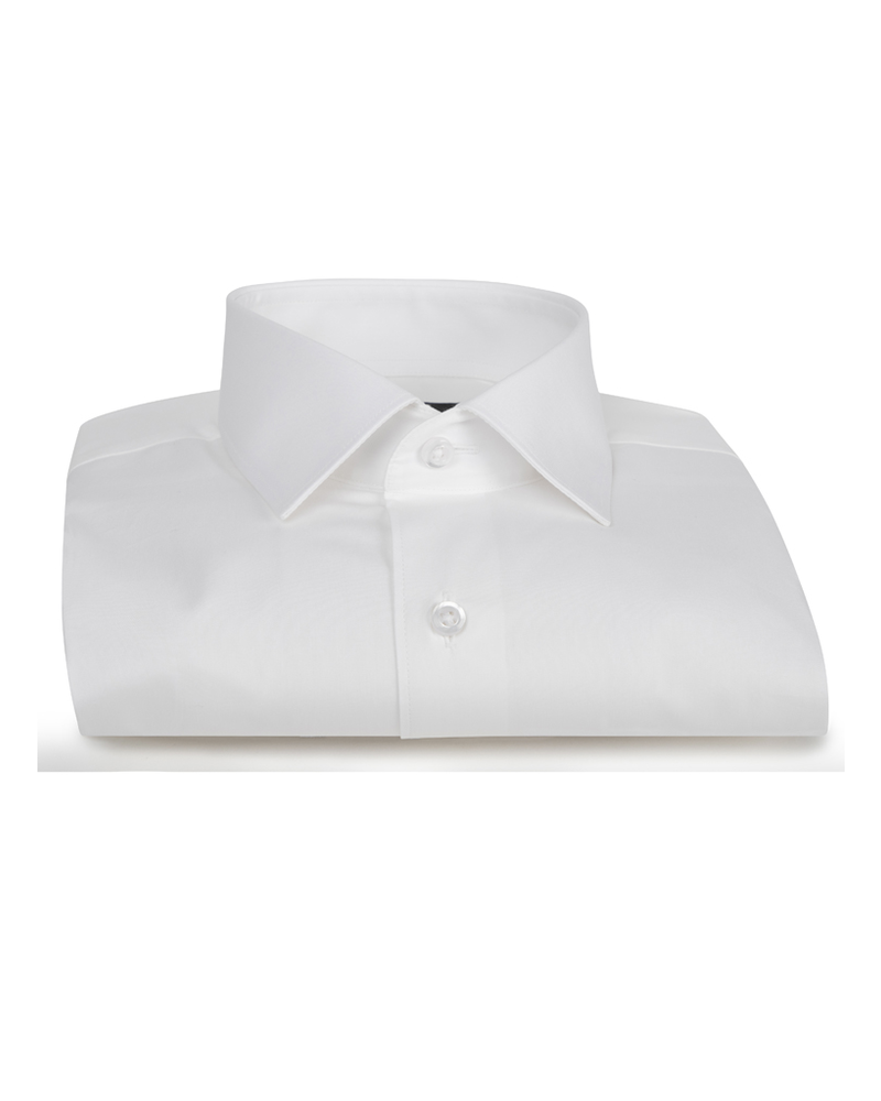 XOOS Men's white fitted dress shirt with French cuffs (Double Twisted)