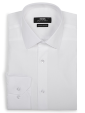 XOOS Men's white gabardeen fitted dress shirt (Double Twisted)