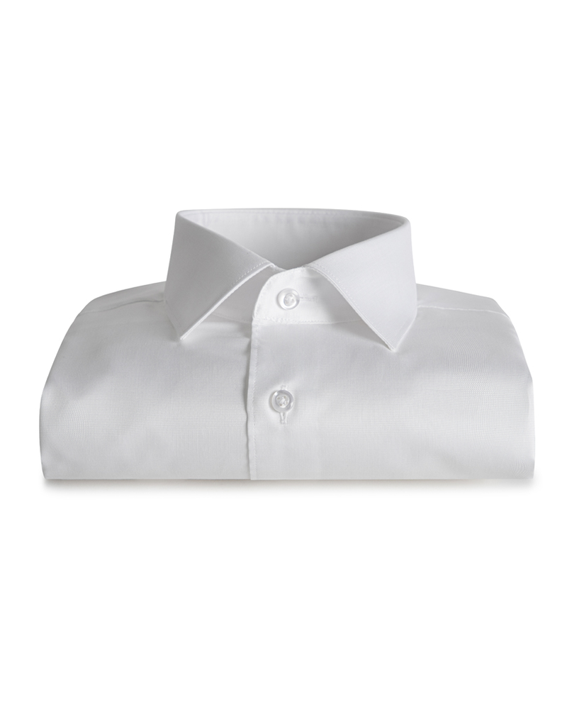 XOOS Men's white end-on-end dress shirt (Double Twisted)