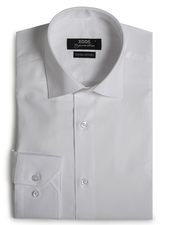XOOS Men's white woven cotton dress shirt (Double Twisted)