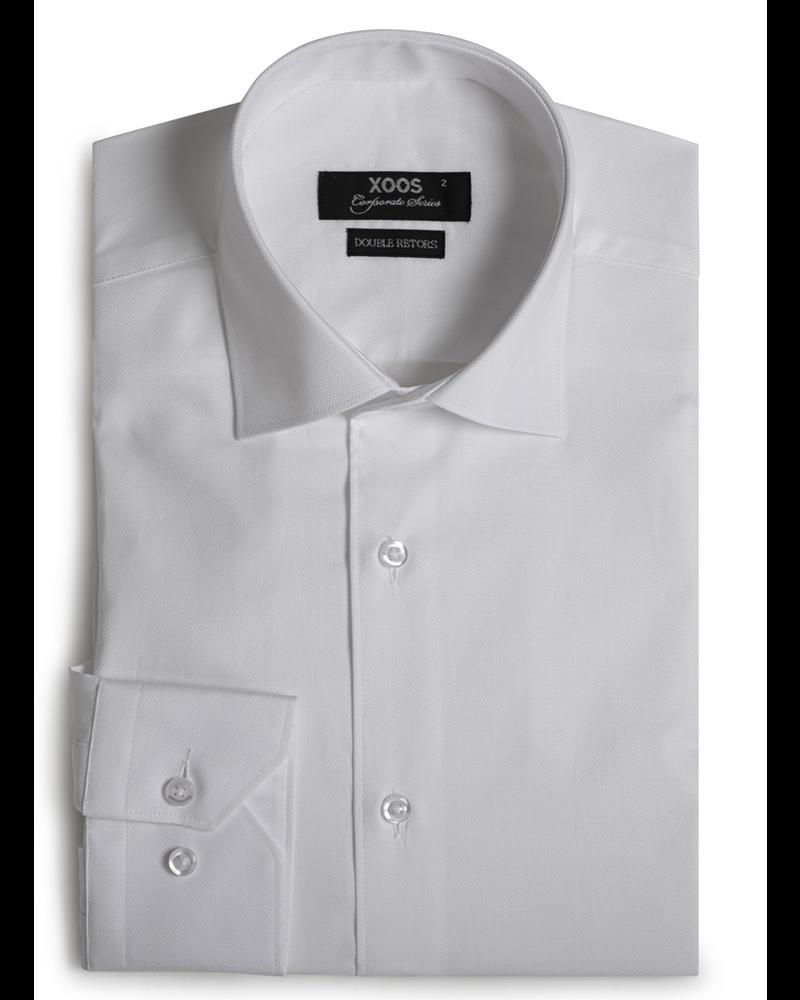 XOOS Men's white woven cotton dress shirt (Double Twisted)