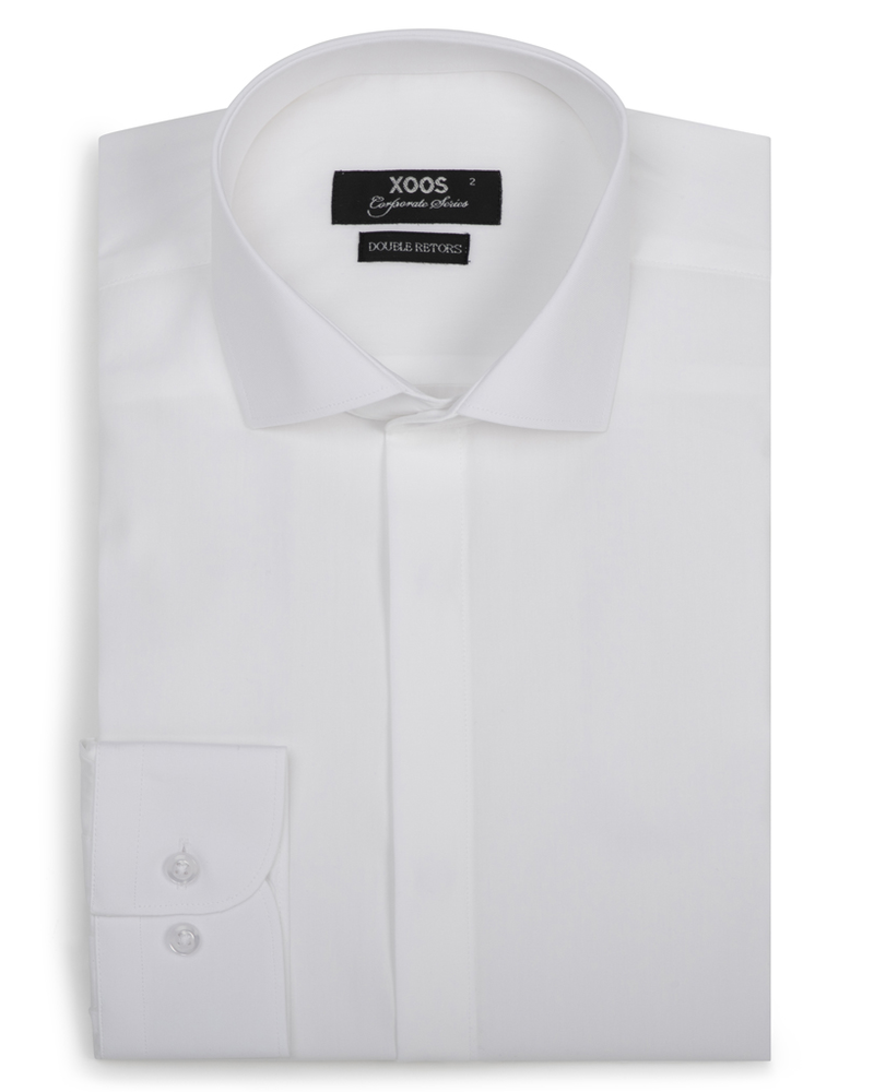 XOOS Men's white fitted dress shirt with hidden placket (Double Twisted)