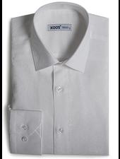 XOOS Men's white jacquard dress shirt with skull patterns
