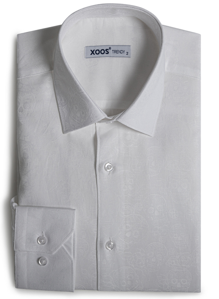 XOOS Men's white jacquard dress shirt with skull patterns