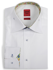 XOOS Men's white fitted dress shirt high collar stand and tropical lining (Double Twisted)