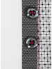 XOOS Men's white fitted dress shirt with gray print and polka dots lining (Double buttons)