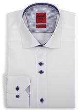 XOOS Men's white fitted dress shirt with blue print and polka dots lining (Double buttons)