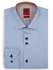 XOOS Men's blue fitted dress shirt with orange print and polka dots lining (Double buttons)