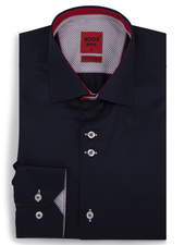 XOOS Men's navy fitted dress shirt with red print and polka dots lining (Double buttons)