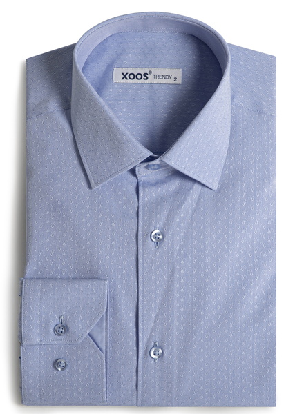 XOOS Men's blue floral patterned jacquad fitted dress shirt
