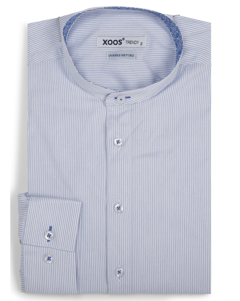 XOOS Men's striped fitted dress shirt with officer collar