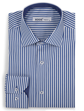 XOOS Men's blue striped fitted dress shirt