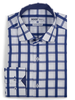XOOS Men's dark blue fitted dress shirt with large checks
