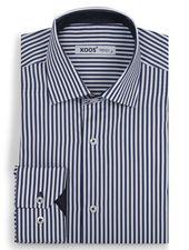 XOOS Men's navy striped fitted dress shirt