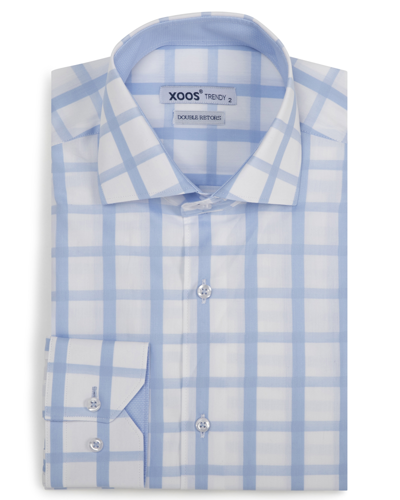 XOOS Men's light blue fitted dress shirt with large checks