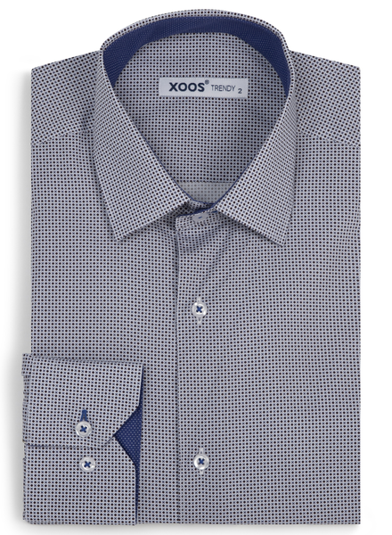 XOOS Men's blue and taupe prints fitted dress shirt
