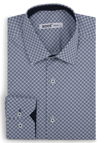 XOOS Men's navy geometrical prints fitted dress shirt