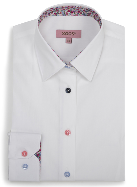 XOOS WOMEN'S white shirt with red floral lining and colored buttons