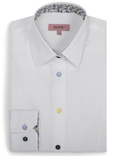 XOOS WOMEN'S white shirt with yellow floral lining and colored buttons