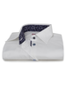 XOOS WOMEN'S white shirt with navy floral lining and colored buttons