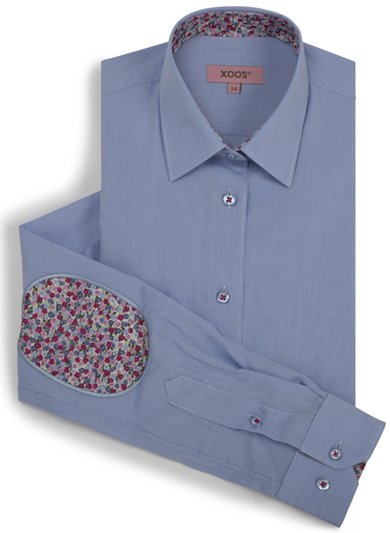 XOOS WOMEN'S light blue shirt with red floral lining and elbowpads