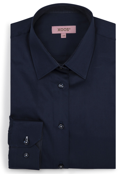 XOOS WOMEN'S navy blue shirt with navy polka dots lining