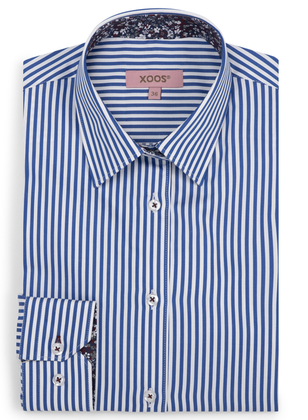 XOOS WOMEN'S striped blue shirt with floral lining