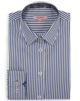 XOOS WOMEN'S striped navy blue shirt with floral lining
