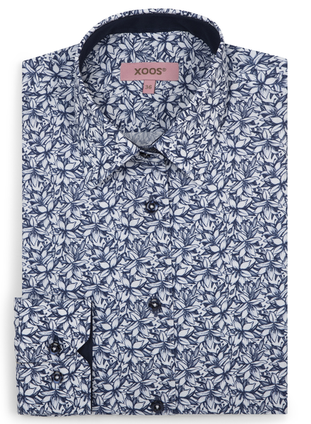 XOOS WOMEN'S navy blue floral print shirt