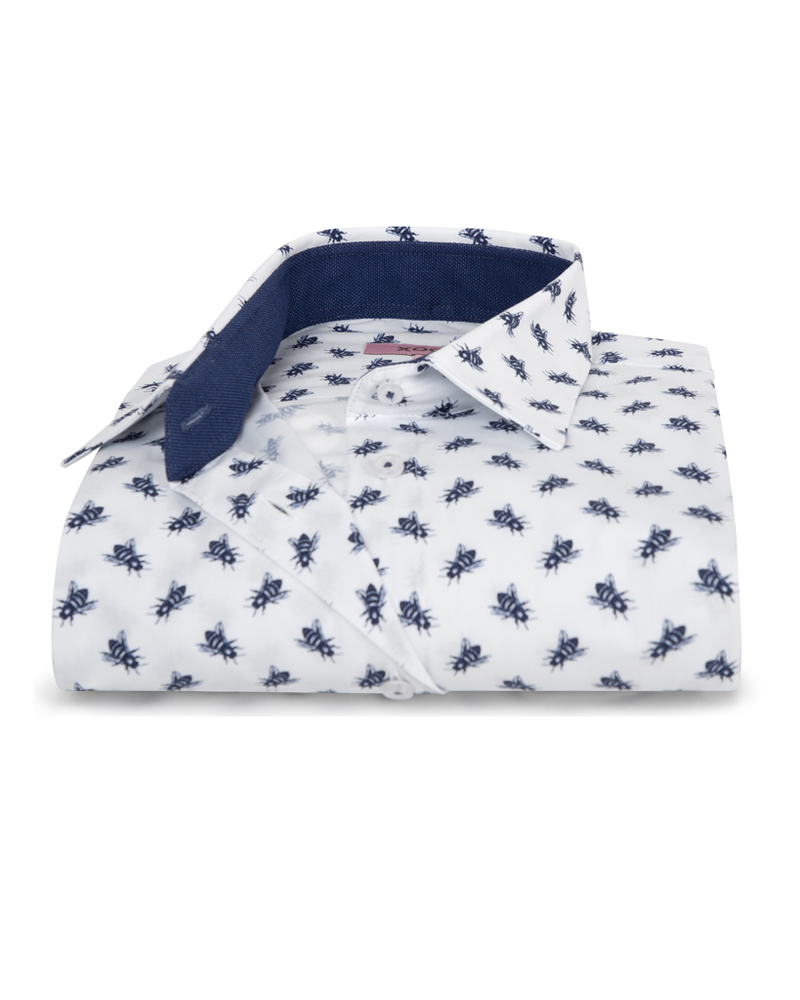 XOOS WOMEN'S navy blue bees print shirt
