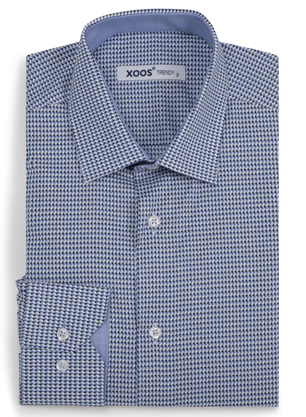 XOOS Men's blue houndstooth prints fitted dress shirt