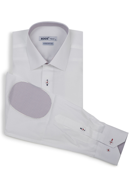 XOOS Men's fitted white dress shirt with red elbowpads and lining prints