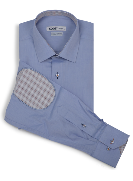 XOOS Men's fitted blue dress shirt with orange elbowpads and lining prints