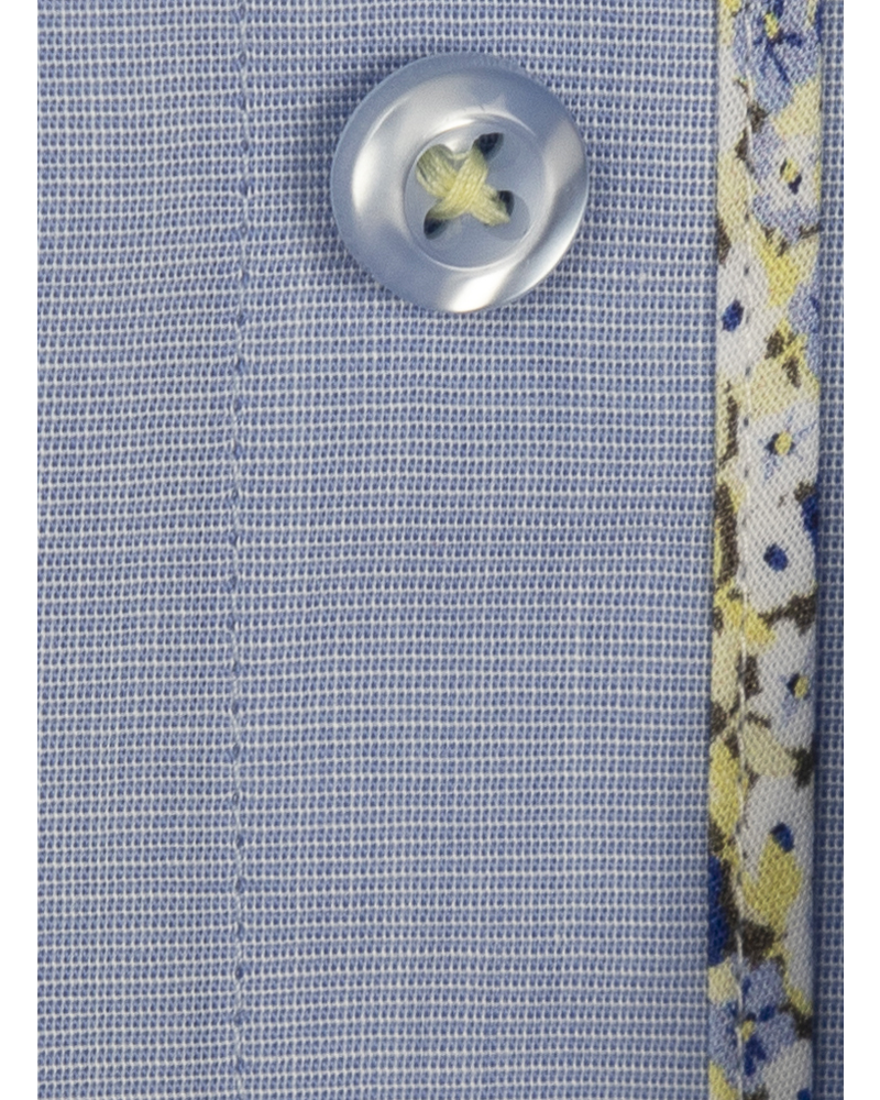 XOOS Men's fitted blue dress shirt with yellow floral lining prints