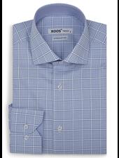 XOOS Men's fitted light blue checkered dress shirt