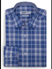 XOOS Men's fitted blue checkered dress shirt
