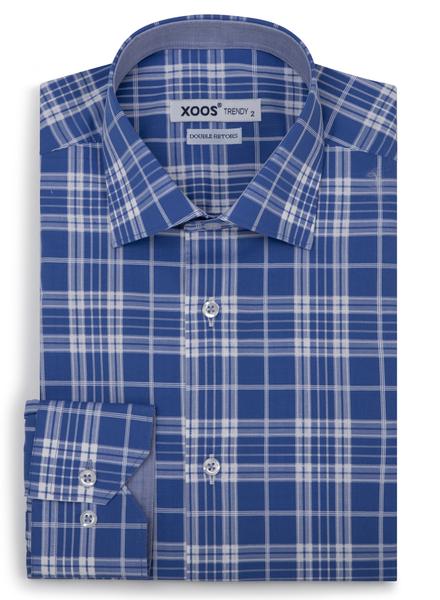 XOOS Chemise homme bleue à carreaux tissés (Double Retors)